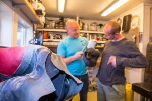 Espen and Vidar in the workshop