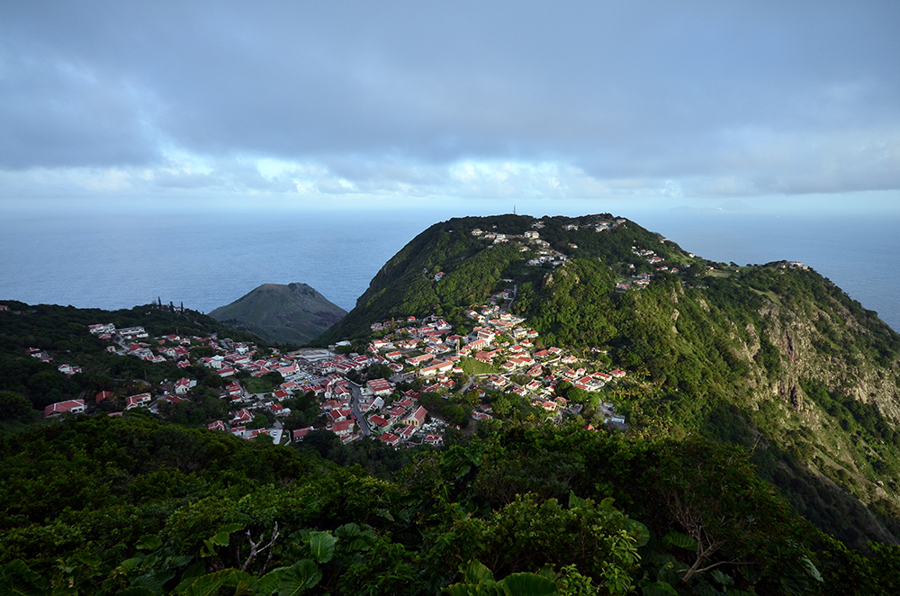 The view of Windwardside from Maskhorn Hill